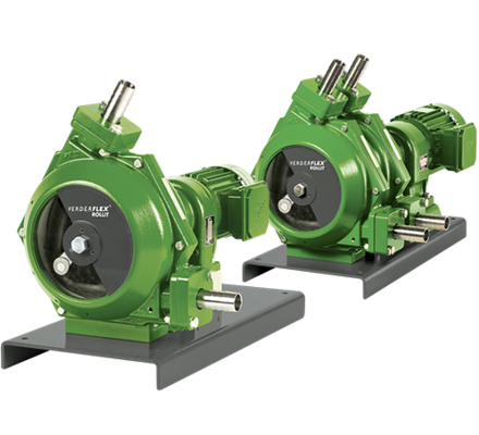 The Verderflex ROLLIT Hygienic is a new family of sanitary dry priming hose pumps, expanding the Verderflex range of hose and tube pumps and available in a standard (single) and twinhead versions.  Without a lubricant bath and with low spallation hoses that meet both FDA CFR 21 and EC/1935, Verderflex ROLLIT Hygienic pumps are ideal for use in biotechnology, beverage production, cosmetics manufacturing, food processing and the pharmaceutical industry.  The Verderflex ROLLIT Hygienic key features are: • Flow rates up to 6954 l/h • Pressures up to 2 bar • Power supply up to 3 kW • Max rotation speed 165 rpm • Max dry suction lift 7 mwc