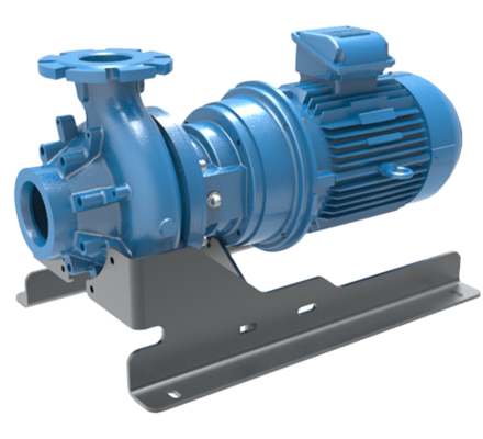 Screw centrifugal pump (Hybrid between a centrifugal pump and a volumetric pump) handling high viscosities, very abrasive and chemically aggressive liquids.