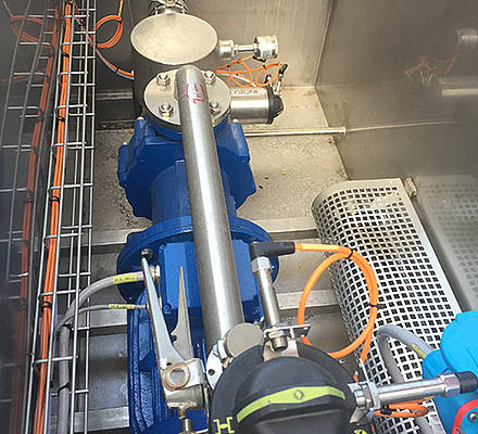A producer of cheese in the food industry uses caustic soda and nitric acid to clean the pipe lines and systems of the production line.