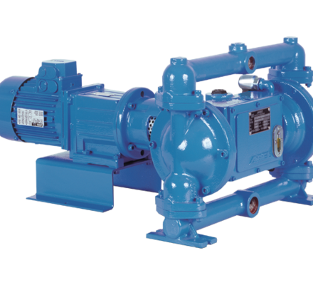 Verderbar EM pump series are electromechanical double-acting membrane (diaphragm) pumps of robust process construction. The integral metal core of each membrane is completely covered by the membrane material on its fluid pumping side, minimizing the possibility of fluid contamination.
