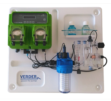 Verder pumps range has varied and different models for different applications from water treatment, to drinking water to swimming pool. Several of the Verderdos and Verderflex units can be mounted on pre- assembled panels, complete of all the needed accessories to be put in place and ready to be turned on.