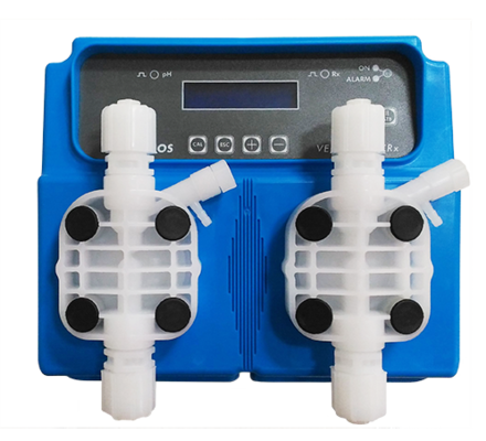 The Dual series of pumps in Verderdos range, offer a compact all in one solution for monitoring water parameters like pH, Redox, Chlorine and T° via a built in instruments and solenoid metering pumps to adjust those parameters. The VE DUAL series of pumps offer a wide degree of settings to the installer and are easy to program and mantain.