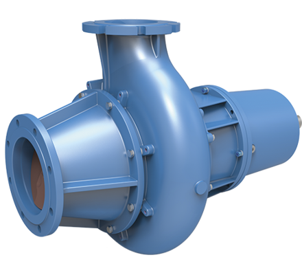 Screw-centrifugal pump (Hybrid between a centrifugal pump and a volumetric pump) handling high viscosities, very abrasive and chemically aggressive liquids
