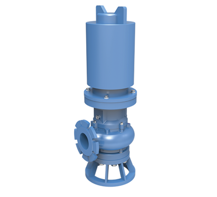 Screw centrifugal pump (Hybrid between a centrifugal pump and a volumetric pump) in a submersible construction handling sludge and slurry.
