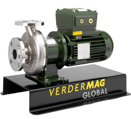 Verdermag Global is a range of metallic centrifugal magdrive pumps suitable for chemicals, acids, solvents, Atex environments, oils and salt water.