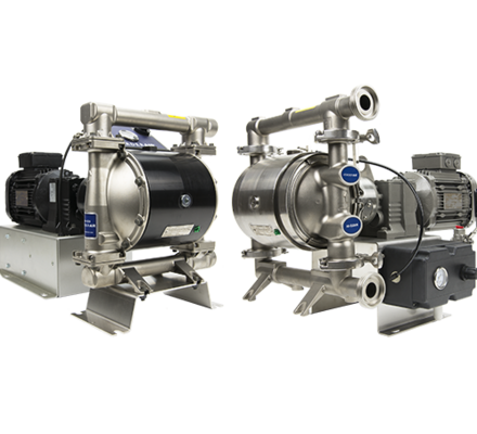 "The Verderair EODD is an electric driven diaphragm pump,but with all the benefits of a AODD. The VA EODD is available in a standard and a HI-CLEAN version. With the wide range of different materials forpump body, valve seats, valve balls and diaphragms, this pump is the ideal problem solver in a wide range of applications across many industries.The VA EODD can run dry, can run against a closed discharge without damage and can run in a ""low pulsation"" mode to reduce the generated pulsations."